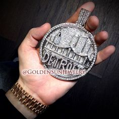 GOLDEN SUN JEWELRY: Representing the city we're from...Detroit! All custom, 100% hand crafted beauty. Solid gold, completely covered in diamonds. #detroit #jewelry #jeweler #diamond #diamonds #diamondpendant #diamondpiece  #bling #hiphop #luxury #swag  #photography