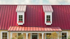 Long-Lasting Metal Roof - Smart Cottage Style Home - Southern Living. LOve this roof! Stone Cottages, Small Cottages, Small Houses, Metal Roof Colors, Cottage Style Homes, Front Door Design, Red Roof, Ranch House Plans, Diy House Projects