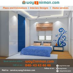 Nice Bed Room Interior design in white and blue color combination  by way2nirman.com