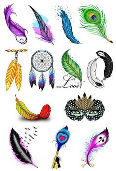 Feather Temporary Tattoo Set