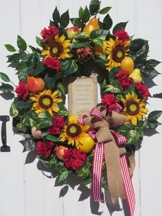 Farmhouse Wreath Gardeners Wreath Sunflower Wreath Country