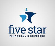 かっこいいロゴマーク作成デザイン, five star, アルファベット, 数字, 5, サンセリフ(ゴシック体), 金融・コンサル業, ネガティブスペース, 曲線, 星