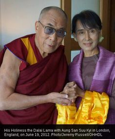 His Holiness the Dalai Lama and Aung Sun Suu Kyi, June 19, 2012. Two amazing peace warriors together in the same place..Inspiring..