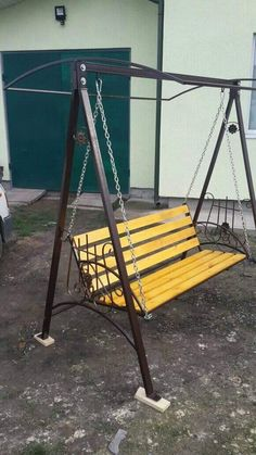 Metal Furniture, Outdoor Furniture, Outdoor Decor, Steel Doors, Porch Swing, Door Design, Swings, Creativity, Tools
