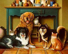 Friends posing for painting - Dogs Wallpaper ID 689523 - Desktop Nexus Animals
