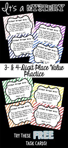 Do your students need a little extra place value practice? Spark their interest with these FREE Place Value Mystery Number Cards. Can be used as a whole-group, small-group or independent activity.