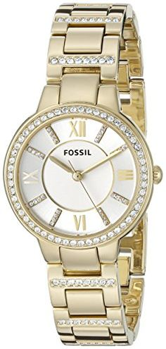 Fossil Womens ES3283 Virginia GoldTone Stainless Steel Watch with Link Bracelet ** Find out more about the great product at the image link.