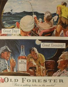 1954 Old Forester Vintage Whisky Illustration.  Marlin fishing and Scotch drinking..I can think of worse ways to spend a day!