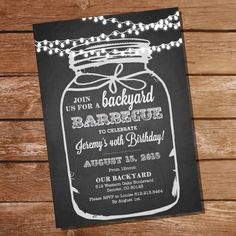 Chalkboard BBQ Birthday Invitation Instantly by SunshineParties