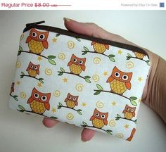 PRE-Holiday SALE 30% OFF Orange Owls Zipper Pouch Little Padded Eco Friendly Coin Purse by JPATPURSES, $5.60