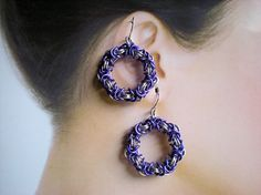 Byzantine Chainmail Hoop Dangle Earrings - Personalized Custom - Handmade in the USA - Pierced, Clip on, or Screw Back Earrings by ladavisjewelry. Explore more products on http://ladavisjewelry.etsy.com