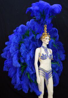 Blue Samba Costume Rio Back Piece Rumba Headdress