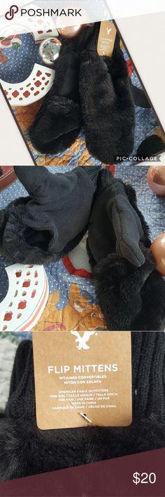 FLIP MITTENS BLACK FURRY FLIO MITTENS - AMERICAN EAGLE OUTFITTERS American Eagle Outfitters Accessories Gloves & Mittens