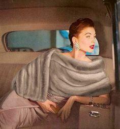 Suzy Parker in an Emba mink stole, Harper's Bazaar, Nov. 1955