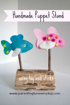 Handmade puppet stand.  No. 17 in the 30 days of Nature Crafts series with Amber Greene.  www.parentingfuneveryday.com
