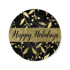 Black & Gold Botanical Merry Christmas Elegant Classic Round Sticker - winter wedding cyo marriage wedding party gift idea