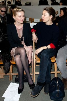 Sofia Coppola Photos - Kirsten Dunst and Sofia Coppola attend the Rodarte Fall 2011 fashion show during Mercedes-Benz Fashion Week at a Private Studio on February 2011 in New York City. Kirsten Dunst, Sofia Coppola Style, Star Fashion, Fashion Show, In Pantyhose, Alexa Chung, Designing Women, Front Row, Lounge Wear