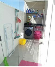Outdoor Laundry Rooms, Small Laundry Rooms, Laundry Room Design, Home Room Design, Small Balcony Design, Small Balcony Decor, Toilet Tiles Design, Laundy Room, Classy Living Room