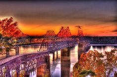 HDR (High Dynamic Range) photograph of the twin bridges spanning the Mississippi River at Vicksburg.