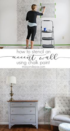 Want a beautiful, dramatic focal point for a room without the hassle of wallpaper? Learn how to stencil an accent wall with this step-by-step tutorial! Interior Paint Colors, Interior Design, Interior Painting, Palette Design, Diy Home Decor, Room Decor, Cute Dorm Rooms, Living Room Paint, Deco Design