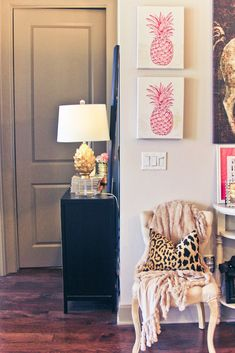 Love the pineapple pictures and accent chair
