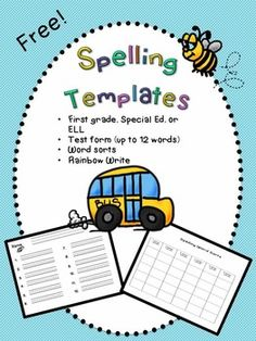 Free! word study templates for spelling words! Includes test template.