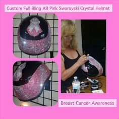 Breast Cancer Awareness Helmet Full Bling almost done~ Motorcycle Fashion, Motorcycle Style, Motorcycle Accessories, Lady Biker, Biker Chick, Breast Cancer Awareness, Helmets, Pipes, Bling Bling
