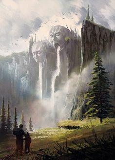 waterfall, Andrew Szymanski on ArtStation at https://www.artstation.com/artwork/waterfall-c3c9f828-501c-470b-b768-1ffedc55c75f