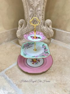 Your place to buy and sell all things handmade Tiered Cake Stands, Tiered Stand, Tiered Cakes, Princess Alice, Dessert Aux Fruits, New China, Royal Tea, Shower Accessories, Square Plates