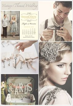 Themed Wedding Ideas — Wedding Ideas, Wedding Trends, and Wedding Galleries I Love Vintage! Great Gatsby Wedding, 1920s Wedding, Vintage Wedding Theme, Art Deco Wedding, Perfect Wedding, Wedding Decor, Our Wedding, Dream Wedding, Jazz Theme Wedding