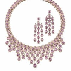 queen victoria's sapphire necklace | PINK SAPPHIRE AND DIAMOND NECKLACE AND PAIR OF PENDENT EARRINGS