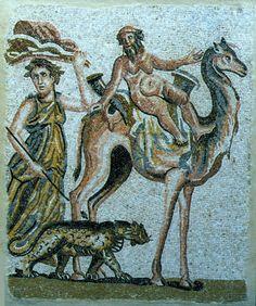 "Roman Mosaic Depicting Silenus Riding a Camel - PF.5315 Origin: Syria Circa: 100 AD to 300 AD Dimensions: 52.375"" (133.0cm) high x 43.25"" (109.9cm) wide Collection: Classical Medium: Mosaic"