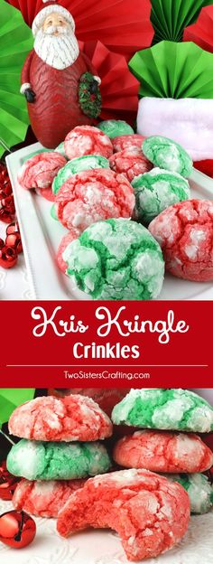 Kris Kringle Crinkles - light and fluffy on the inside and sweet and crunchy on the outside. A yummy homemade Crinkle cookie recipe that is not made from a cake mix. This classic Christmas cookie recipe is a keeper. This fun and easy treat would be a great Christmas dessert idea for a Christmas Party, a holiday gift basket or a Christmas Cookie exchange. Pin this easy Holiday cookie recipe for later and follow us for more great Christmas Food ideas. #ChristmasCookies #ChristmasDesserts…