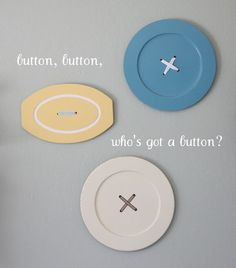Giant button sewing room decor from thrifted wooden serving trays, from Craftiness is not Optional