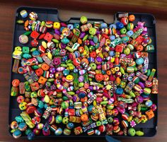 Freshly baked clay beads! Love the vibrant colors.