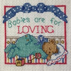 Completed Handmade Cross Stitch Babies Are For Loving Teddy Bear Baby Child Room  | eBay