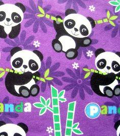 Snuggle Flannel Fabric Happy Panda