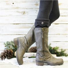 42da3b20eb Feel cozy and loved with our dark grey hand knit look thick leg warmers! Lace  Boot SocksBoot CuffsSocks ...