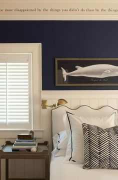 blue +white bedroom, Side table and wave headboard by oomph
