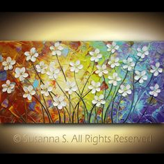 ORIGINAL Large Abstract Impasto White Flowers Landscape Modern Palette Knife Painting - Contemporary Fine Art by Susanna 48x24