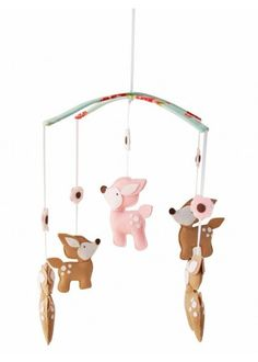 Woodland Deer Mobile in Brown + Pink