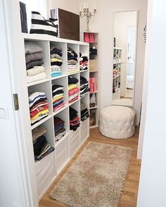 Our Small Walk In Closet .Remove Shelving On One Side, Add More Bright  Lighting!