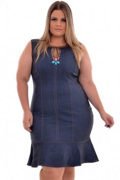 Plus size denim embroidered dress