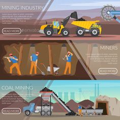 Buy Mining Industry Horizontal Flat Banners by macrovector on GraphicRiver. Set of flat horizontal banners with mining industry, workers with tools, coal extraction isolated vector illustration Mining Logo, Coal Mining, Game Design, Web Design, Logo Design, Flat Design, Design Ideas, Low Poly Car, Creative Resume Templates