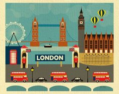 London, UK in an array of finishes, materials, and sizes, this retro inspired wall art will make London feel close to your heart with its bright color palette and unique design. You can start with one