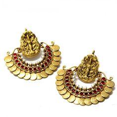 ramleela-coin-earrings-red-main India Jewelry, Temple Jewellery, Jewelry Art, Fine Jewelry, Fashion Jewelry, Jade Earrings, Gold Jewellery Design, Jewelry Patterns, Kaasu Mala