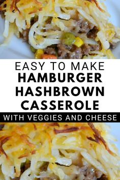 This Hashbrown Hamburger Casserole with Veggies and Cheese Recipe makes an excellent all-in-one-dish dinner recipe. #casserole #easydinner #weeknightdinner #groundbeef Best Hamburger Casserole Recipes, Hashbrown Hamburger Casserole, Hamburger Dishes, Dinner Casserole Recipes, Veggie Casserole, Beef Recipes For Dinner, Chicken Casserole, Turkey Recipes, Vegetables