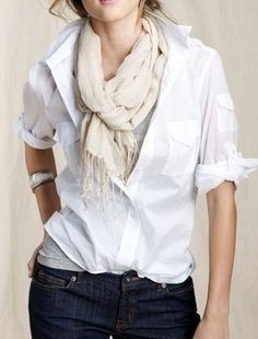 white shirt, scarf, turn up sleeves with bangle