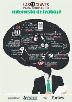 #infografía con 11 claves fundamentales para superar con éxito una Entrevista de trabajo.