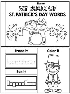 *** FREE *** My Book of St. Patrick's Day Words >> Great for teaching vocabulary! >> Children trace the word, box the word and, color the picture.